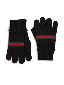 Gucci - Toddler's & Kid's Knit Wool Signature Web Mittens