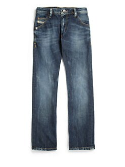 Diesel - Boy's Distressed Straight-Leg Jeans