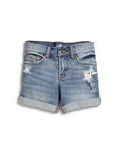 7 For All Mankind - Girl's Distressed Mid-Roll Shorts