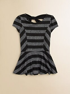 Kiddo - Girl's Striped Sparkle Peplum Top