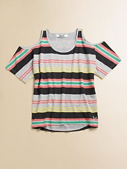 DKNY - Girl's Striped Cold-Shoulder Tee