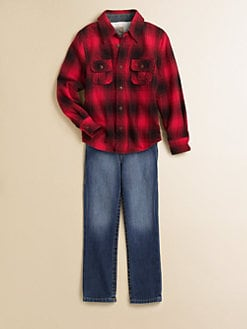 True Religion - Boy's Thermal-Lined Plaid Flannel Shirt