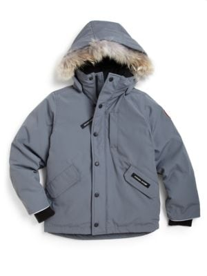 Little Boy's & Boy's Logan Coyote Fur-Trim Down Parka