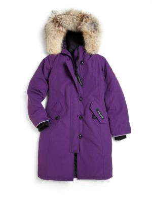 Girl's Fur-Trimmed, Down-Filled Long Parka