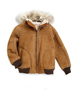 Dolce & Gabbana - Boy's Hooded Fur-Trim Leather Jacket