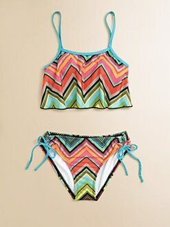 Ella Girl - Girl's Two-Piece Caravan Zig-Zag Cropped Tankini Bathing Suit