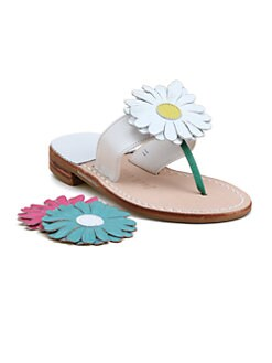 Jack Rogers - Little Girl's & Girl's Miss Daisy Changeable Flower Leather Sandals