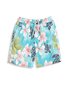 Vilebrequin - Boy's Turtles & Flowers Swim Trunks