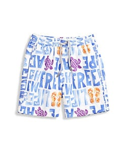 Vilebrequin - Boy's Turtle & Writing Swim Trunks
