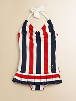 Juicy Couture - Girl's Port Stripe Swimdress