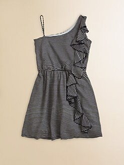 Kiddo - Girl's Striped One-Shoulder Dress