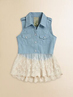 Kiddo - Girl's Denim Ruffled Lace Tank Top