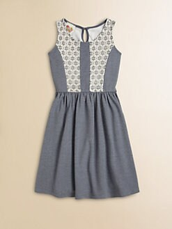 Kiddo - Girl's Denim Lace Dress