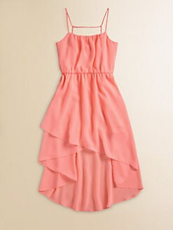Kiddo - Girl's Layered Chiffon Hi-Lo Dress