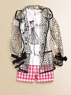 Milly Minis - Girl's Piped Polka Dot Raincoat