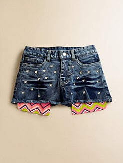 Flowers by Zoe - Girl's Studded Denim Shorts
