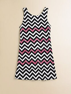 Flowers by Zoe - Girl's Sequined Zig Zag Dress