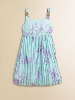 Versace - Girl's Starfish Print Silk Sundress