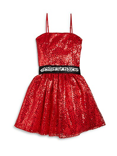 Girl's Sequin & Tulle Party Dress