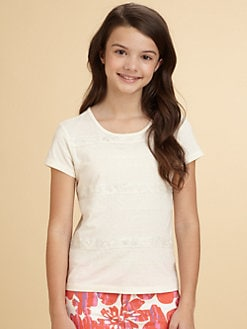 DKNY - Girl's Darla Lace Jersey Tee