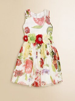 David Charles - Girl's Beaded Floral Silk Chiffon Dress