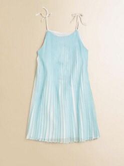 Chloe - Girl's Mini-Me Satin Pleated Dress