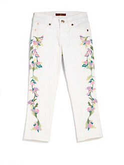 7 For All Mankind - Girl's Floral Embroidered Skinny Jeans