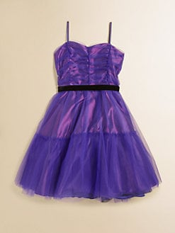 Un Deux Trois - Girl's Tulle Party Dress with Velvet Sash