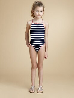 Oscar de la Renta - Girl's Striped One-Piece Swimsuit