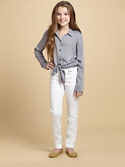 Ella Girl - Girl's Lace-Back Chambray Shirt