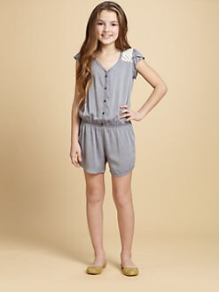 Ella Girl - Girl's Lace-Yoked Chambray Romper