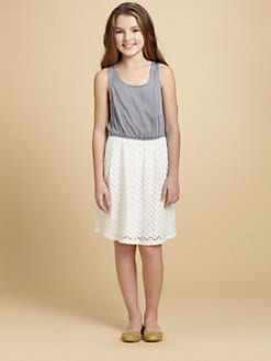 Ella Girl - Girl's Chambray & Lace Dress