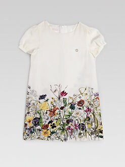 Gucci - Girl's Floral Silk Dress