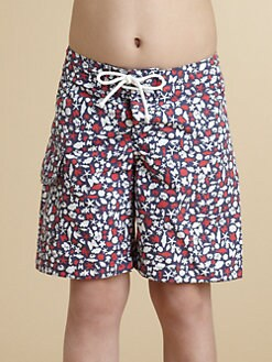 Oscar de la Renta - Boy's Seashore Print Swim Trunks