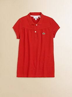 Lacoste - Girl's Gathered Pique Polo Shirt