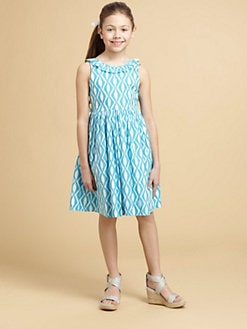 Oscar de la Renta - Girl's Diamond Print Party Dress