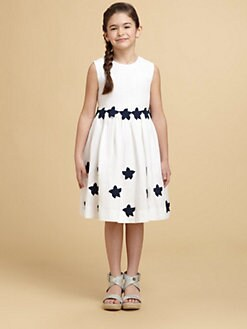 Oscar de la Renta - Girl's Appliquéd Linen Dress