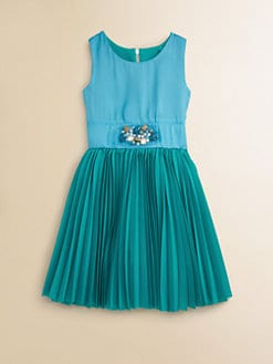 Zoe - Girl's Pleated Colorblock Dress