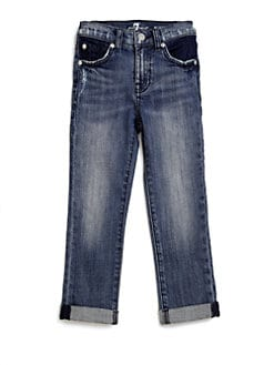 7 For All Mankind - Girl's Crop & Roll Jeans