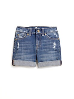 7 For All Mankind - Girl's Distressed Denim Shorts