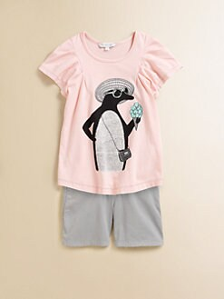 Little Marc Jacobs - Girl's Penguin Flutter Shirt