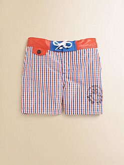Little Marc Jacobs - Boy's Woven Mini Check Swim Trunks