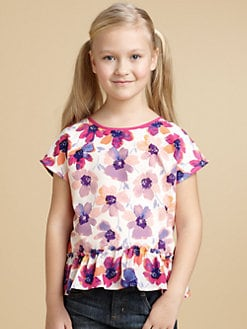DKNY - Girl's Floral Peplum Top