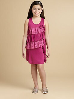 DKNY - Girl's Ruffle-Front Jersey Dress