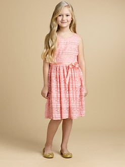 DKNY - Girl's Stretch Lace and Ruffle Dress