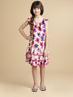 DKNY - Girl's Floral Print Ruffled Dress