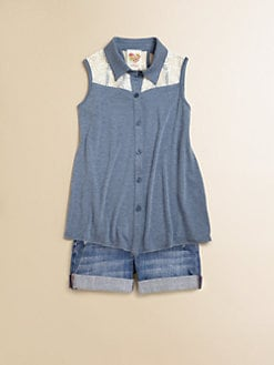 Kiddo - Girl's Lace Chambray Top