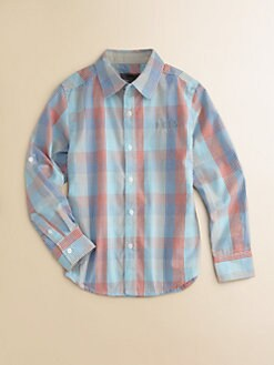DKNY - Boy's Gingham Plaid Woven Shirt