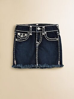 True Religion - Girl's Laylaa Lonestar Cut-Off Jean Skirt