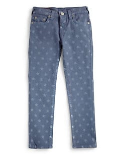 True Religion - Girl's Casey Star Print Denim Leggings/Royal Blue
